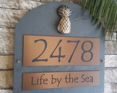 Tropical Pineapple Home Address Plaque House Numbers Sign