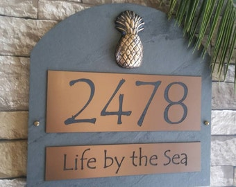 Tropical Pineapple Arched Slate Home Address Plaque House Numbers Sign