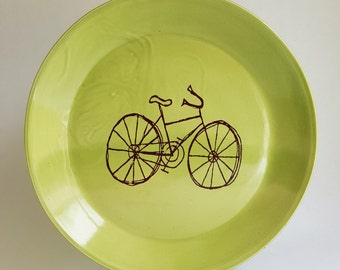 large plate, ceramic plate, lime green, bike plate, bicycle plate, dinnerware, dinner plate, serving plate, biker lover, handmade plate