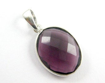 Bezel Pendant with Bail- Amethyst Quartz Gemstone Pendant- Sterling Silver Gem Bezel Pendant Ready for Necklace, Oval Shape -28mm-601112-AMQ
