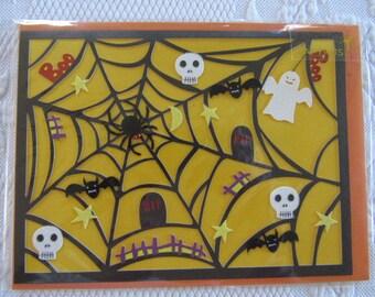 Amazing Vintage HALLOWEEN Greeting Card PAPYRUS Spider Web Skulls Ghost Bat Boo Glitter 3D