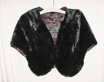 Vintage 40 Fur Cape Seal Black Shawl Capelet Wolf & Dessauer