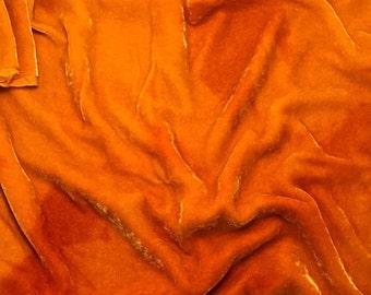 PUMPKIN ORANGE - Hand Dyed Silk Velvet 1 Yard