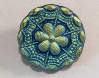 Vintage Matte Carnival Glass Iridescent Blue Gold Luster Flower Wheel Button