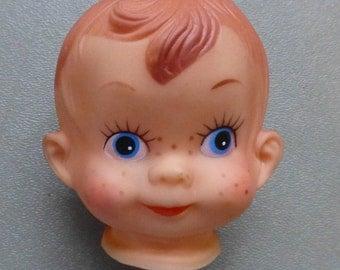 Boy Doll Head Freckles Blue Eyes Full Head Red Hair Craft Destash Vintage Craft Supplies