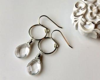 Black Friday Sale / Rock Crystal Earrings / Sterling Silver Earrings / Wire wrapped Drop Earrings / Geometric Dangle Earrings