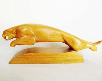 vintage jaguar carved wood sculpture automobile hood symbol signed