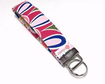 Colorful keychain, key fob, key wristlet, key holder, key chain. Key chain wrist strap, fabric wristlet keychain.