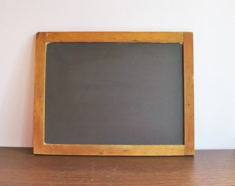 Large vintage slate schoolhouse chalkboard with wooden frame