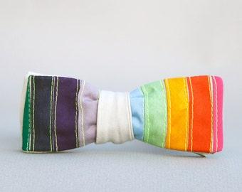 rainbow bow tie //  self tie bow tie // unisex bow tie // striped bow tie