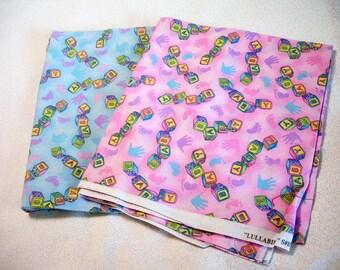 Fabric Destash – Baby Blocks Fabric – Almost 2 Yards, Choice of 2 colors, 100% Cotton, Hoffman Fabric