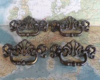 SALE! 4 vintage fancy design brass metal pull handles - Set #2*
