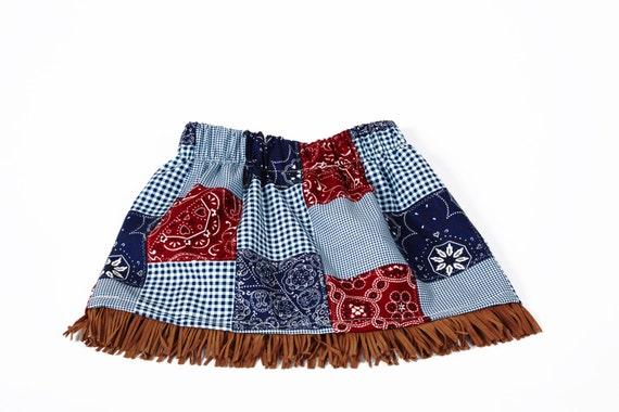 Little Girls Skirt Bandana Print with Fringe, Cowgirl Skirt, Toddler Skirt, Western Skirt, Girl Skirt, Red Blue Gingham Skirt, Blue Skirt
