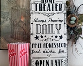 HOME THEATER SIGN, Movie Night Sign, Family Signs, 12 x 24