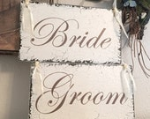 Wedding Signs, BRIDE and GROOM Signs, Chair Hangers, Chair Signs, Mr. and Mrs. Signs, Wood Wedding Signs, 9 x 5