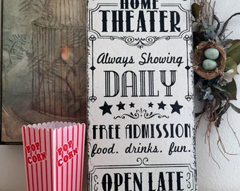 HOME THEATER SIGN, Movie Night Sign, Family Signs, Family Theater Sign, 12 x 24
