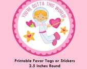 Space Valentines, Astronaut Girl Instant Download Tags or Stickers --- Digital File of 12 2.5 inch Round Stickers or Tags