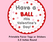 Bouncy Ball Valentines, Instant Download Tags or Stickers --- Digital File of 12 2.5 inch Round Stickers or Tags