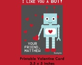 Robot Valentine Card, Printable Card, Kids Valentine Cards, Valentine for Boys, Valentine for Girls