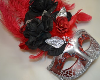 Red Black and Silver Venetian Stick Mask