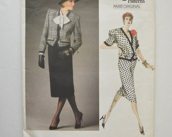 1980s UNCUT Vogue Paris Original Nina Ricci Pattern 1663 Womens Boxy Jacket & Straight Skirt Size 14
