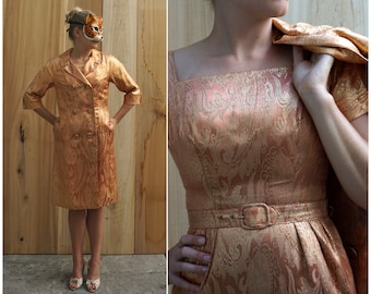 Glitzy Vintage 60's Rose Gold Brocade Wiggle Dress and Matching Evening Jacket Two Piece Set by I. Magnin & Co. | Small
