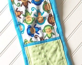 Baby-Burp-Cloth-Personalized-Cloths-Boy-Boys-Burps-Monkey-Blue-Modern-Stylish-Drool-Towels-Diaper-Shower-Nursery-Newborn-Essentials-Gifts