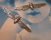 Sterling Silver Ox Plated Brass Moth Stamping Bent or Straight 218SOX x2