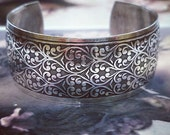 Sterling Silver Ox Plated Brass Floral Embossed Bangle Cuff 2232SOX x1