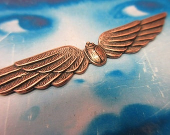 Copper Ox Plated Winged Scarab Stamping Pendant 242COP x1