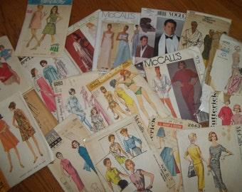 Vintage Pattern Lot of 40, Pattern Destash, 1950's - 1990's Vintage Patterns