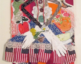 big hands to fill - Jumbo Size FABRIC COLLAGE Folk Art -- Sewn Stitch Patchwork Quilt - Found Objects - Outsider Funky  Altered Assemblage