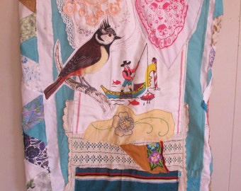 folklore fabric folk art collage MAXI DRESS  -  Boho Style Wearable Clothing -Embroidery & Vintage Linens -Recycled Materials--mybonny