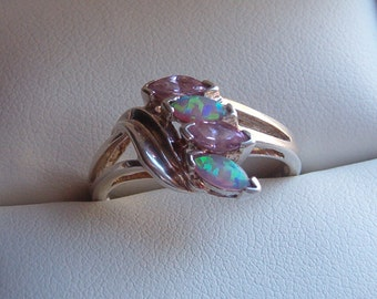 Ring, Cocktail Ring, Sterling Silver Cocktail Ring, Opal and CZ Ring, Sterling Silver Ring, CZ Ring, 80's Ring