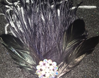 Holiday party, Black fascinator, Pinup, 1920 headpiece, Feather fascinator, ready to ship, Christmas party,Black clip