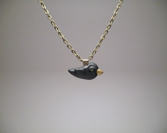 Small Blackbird Necklace - Polymer Clay Jewelry
