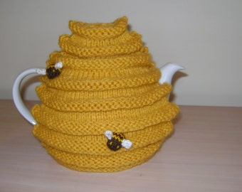 Hand knitted bee hive teapot cozy, honey pot, tea cosy with bees