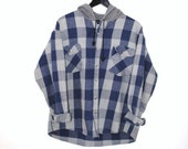 buffalo plaid hooded flannel shirt early 90s GRUNGE upcycled grey + blue button up flannel hoodie