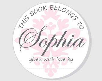 Bookplate Baby Shower Stickers - Pink Damask Personalized This Book Belongs To Stickers - Girl - 2.5 inch - 3 inch