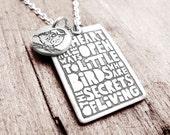 Inspirational quote necklace,  bird necklace, bird jewelry