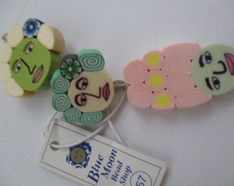 Character Woman Firmo Clay Face Beads