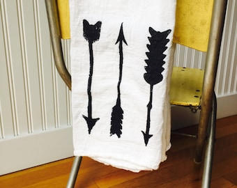 Flour sack towel ~ ARROWS ~ tea towel ~ kitchen towel ~ multiple color options
