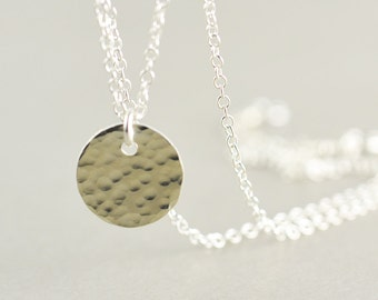 Hammered Disc Necklace, Silver Disc Necklace, Silver Coin Necklace