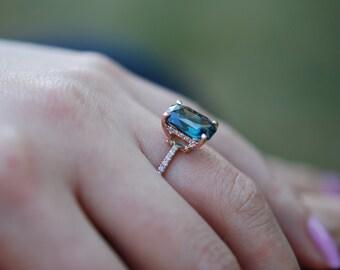Peacock sapphire engagement ring. 2.72ct cushion cut diamond  ring 14k Rose gold ring by Eidelprecious.