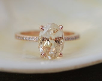 coming soon -Peach Champagne Sapphire Engagement Ring. Oval cut engagement ring. 14k rose gold diamond ring 3.9ct sapphire ring