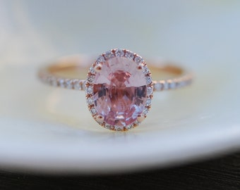 Ginger Peach Sapphire Ring, 1.51ct Peach Sapphire Engagement Ring, Oval Cut Engagement Ring, 14k Rose Gold ring by Eidelprecious