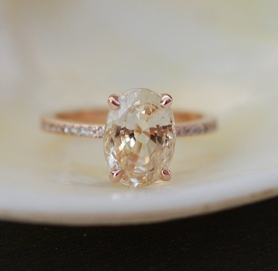 Peach Champagne Sapphire Engagement Ring. Oval cut engagement ring. 14k rose gold diamond ring 3.9ct sapphire ring