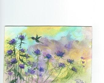 Hummingbird in Thistle  5x7 acrylic painting Jim Smeltz