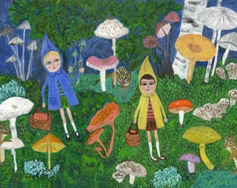 Mushroom hunters - original oil portrait by Vivienne Strauss.
