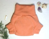 Seconds Medium Coral Peach Upcycled Wool Soaker Diaper Cover / Wool Shorties / Cloth Diaper Cover Boy Girl